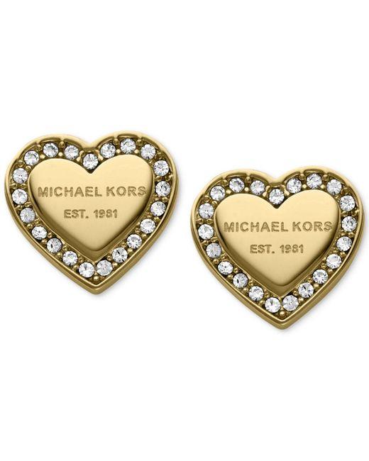 Michael Kors | Metallic Crystal Heart Stud Earrings | Lyst