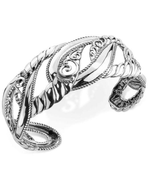 Carolyn Pollack - Metallic Filigree Openwork Cuff Bracelet In Sterling Silver - Lyst