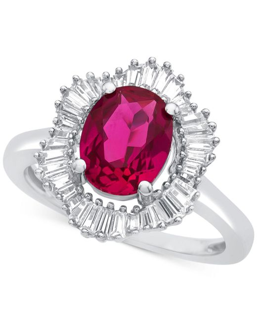 Macy's | Red Lab-created Ruby (1-7/8 Ct. T.w.) And White Sapphire (3/4 Ct. T.w.) Ring In Sterling Silver | Lyst