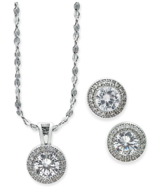 Charter Club - Metallic Silver-tone 2-pc. Set Crystal Halo Pendant Necklace And Stud Earrings Set, Created For Macy's - Lyst
