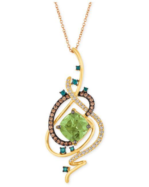 "Le Vian - Metallic Exotics® Crazy Collection® Mint Julep Quartztm (3-1/4 Ct. T.w.) & Diamond (3/4 Ct. T.w.) 18"" Pendant Necklace In 14k Gold - Lyst"