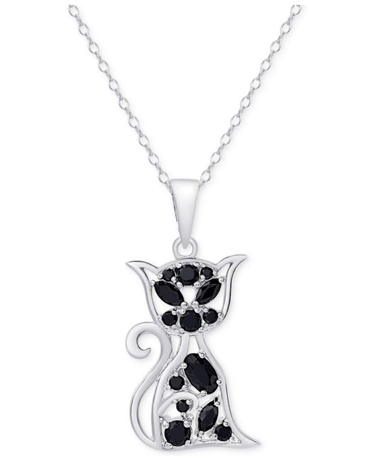 Macy's | Metallic Black Spinel Cat Pendant Necklace In Sterling Silver | Lyst