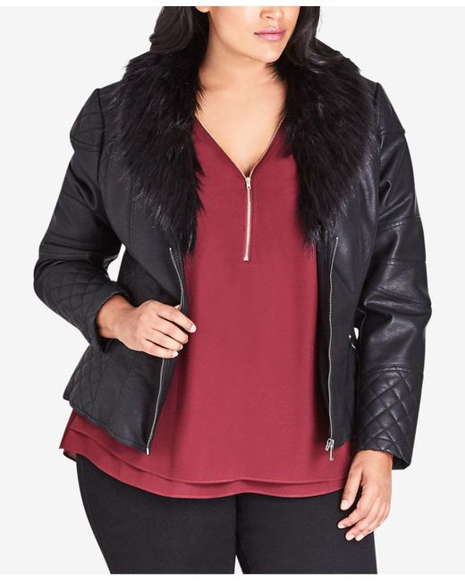 City Chic - Black Faux Leather Jacket With Faux Fur Collar - Lyst