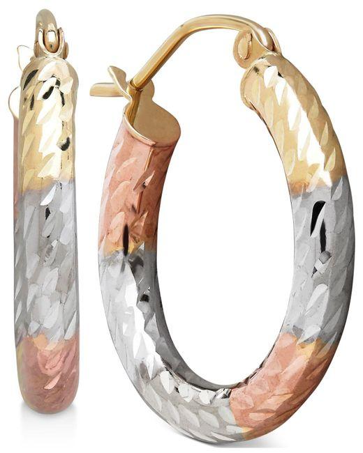 Macy's - Multicolor Tri-tone Textured Hoop Earrings In 10k Gold - Lyst