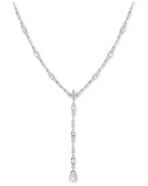 """Givenchy Metallic Crystal Lariat Necklace, 16"""" + 3"""" Extender"""
