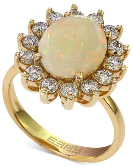 Effy Collection | White Opal (1-7/8 Ct. T.w.) And Diamond (1 Ct. T.w.) Ring In 14k Gold | Lyst