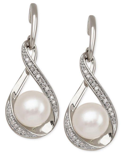 Macy's - Metallic Cultured Freshwater Pearl (7mm) And Diamond (1/10 Ct. T.w.) Earrings In 14k Gold - Lyst