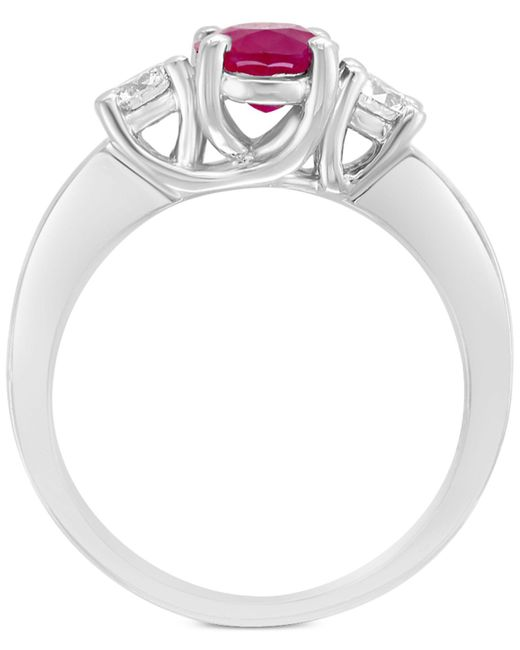 Effy Red Ruby (1-3/8 Ct. T.w.) & Diamond (3/8 Ct. T.w.) Engagement Ring In 18k White Gold