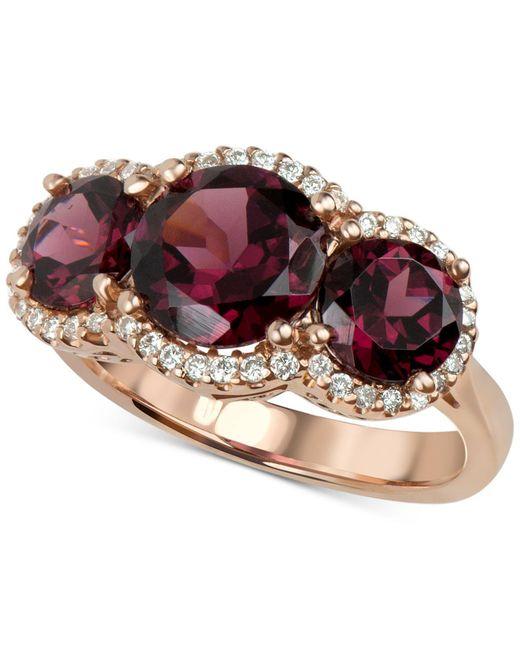 Macy's - Multicolor Rhodolite Garnet (5 Ct. T.w.) And Diamond (1/4 Ct. T.w.) Three Stone Ring In 14k Rose Gold - Lyst