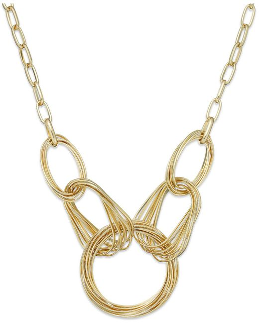 INC International Concepts - Metallic Gold-tone Multi-ring Frontal Necklace - Lyst