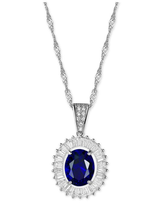 Macy's - Blue Cubic Zirconia And Simulated Stone Pendant Necklace In Sterling Silver - Lyst