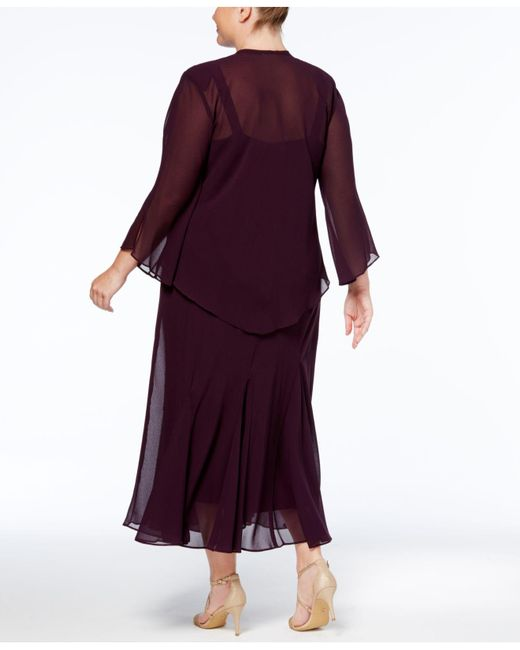 ccfde117b5d6f ... R   M Richards - Multicolor Plus Size Beaded V-neck Dress And Jacket -