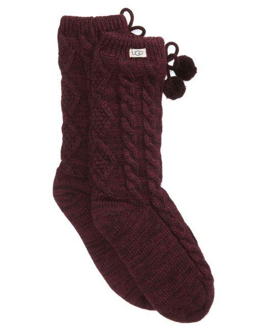 Ugg - Red Pom Pom Fleece Socks - Lyst