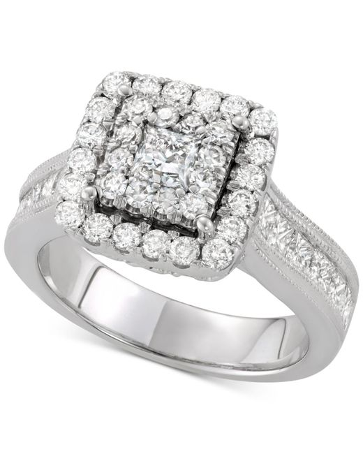 Macy'S Diamond Square Cluster Engagement Ring (2 Ct