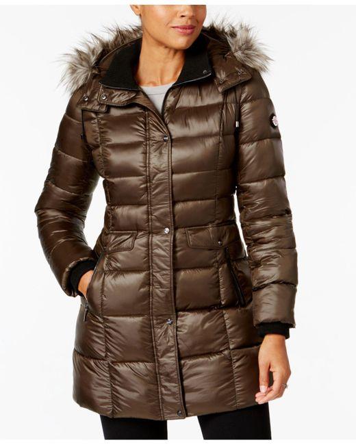 Bernardo - Green Faux-fur-trimmed Hooded Puffer Coat - Lyst