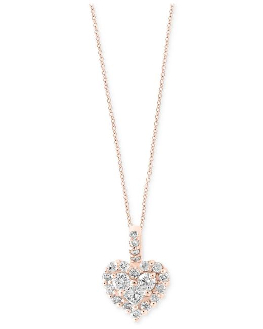 Effy Collection - Metallic Effy® Diamond Heart Pendant Necklace In 14k White Gold Or Rose Gold (5/8 Ct. T.w.) - Lyst