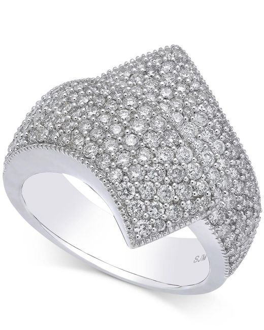 Macy's - Metallic Diamond Cluster Bypass Ring (1-1/2 Ct. T.w.) In 14k White Gold - Lyst