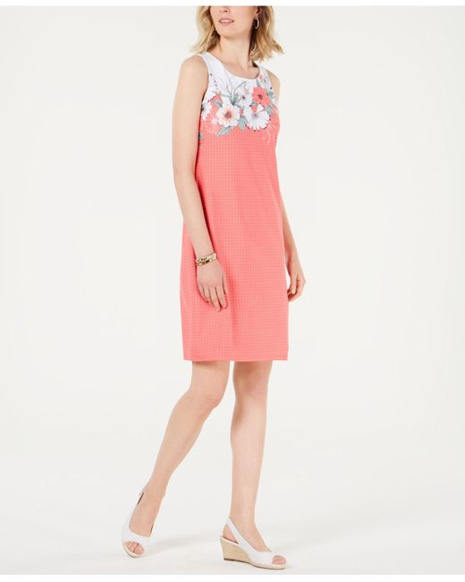 Charter Club Pink Petite Floral-print Shift Dress, Created For Macy's
