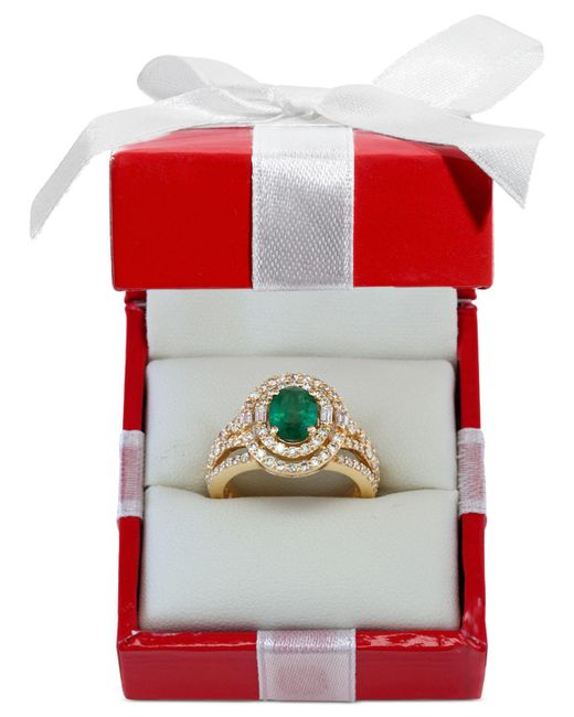 Effy Collection - Green Emerald (1-1/7 Ct. T.w.) And Diamond (1-1/7 Ct. T.w.) Ring In 14k Gold - Lyst