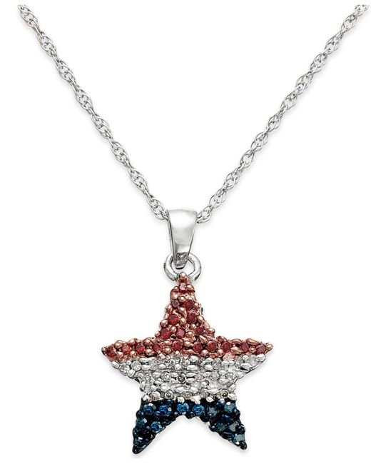 Macy's - Metallic Diamond Flag Star Pendant Necklace In Sterling Silver (1/4 Ct. T.w.) - Lyst