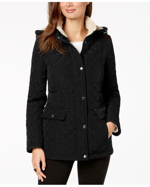Laundry by Shelli Segal - Black Petite Fleece-lined Hooded Quilted Coat - Lyst