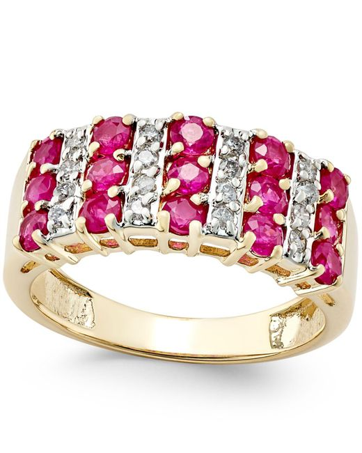 Macy's - Metallic Ruby (1-1/2 Ct. T.w.) And Diamond (1/5 Ct. T.w.) Ring In 14k Gold - Lyst
