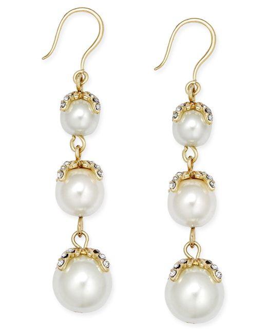 Charter Club | Metallic Gold-tone Imitation Pearl Linear Earrings | Lyst