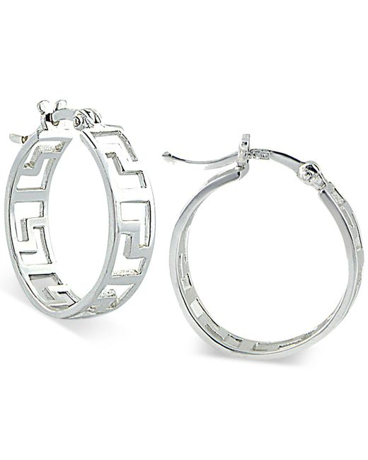 Giani Bernini | Metallic Greek Key Openwork Hoop Earrings | Lyst