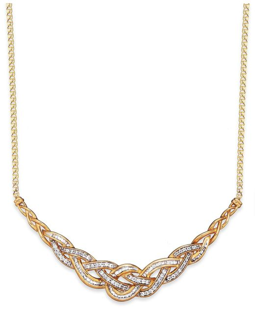 Wrapped in Love - Metallic Diamond Woven Frontal Necklace In 10k Gold (1 Ct. T.w.) - Lyst