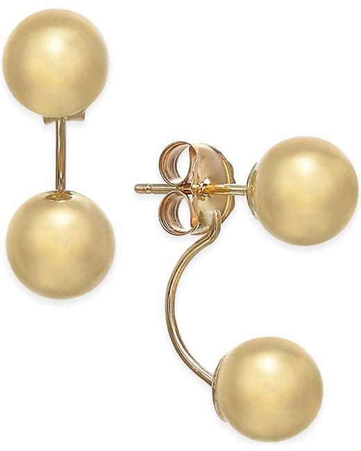 Macy's - Metallic Double-ball Drop Earrings In 10k Gold - Lyst