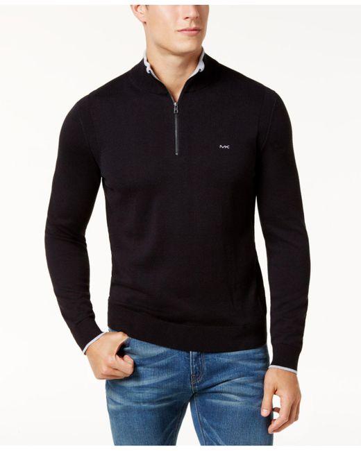 Michael Kors   Black Men's Merino Wool Quarter-zip Sweater for Men   Lyst