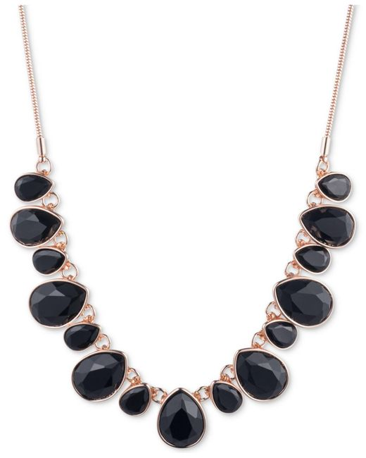 Nine West | Black Gold-tone Multi-stone Statement Necklace | Lyst