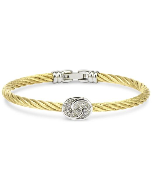 Charriol Metallic White Topaz Knot Bangle Bracelet (1/4 Ct. T.w.) In Sterling Silver & Stainless Steel With Gold Pvd