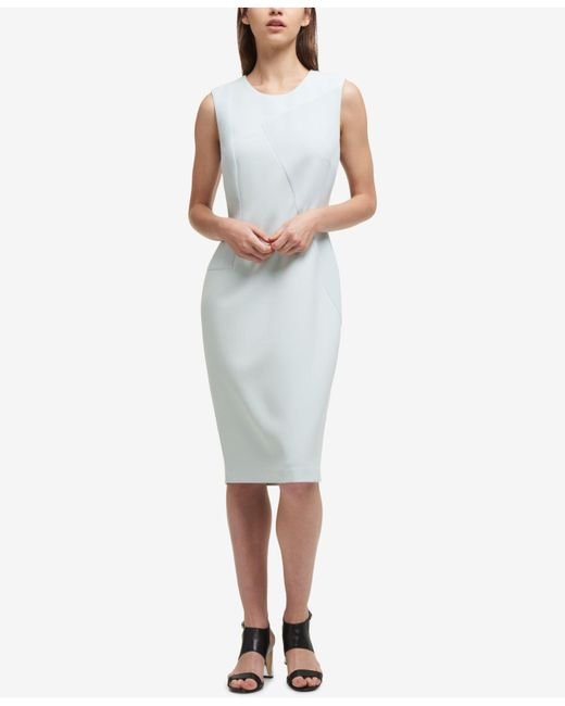 DKNY - Multicolor Textured Contrast-panel Sheath Dress - Lyst
