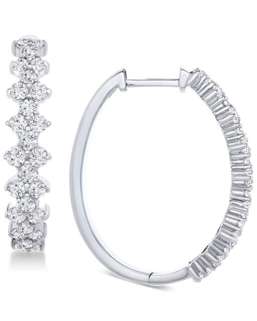 Wrapped in Love - Metallic Tm Honeycomb Diamond Hoop Earrings (1-1/2 Ct. T.w.) In 14k White Gold, Created For Macy's - Lyst
