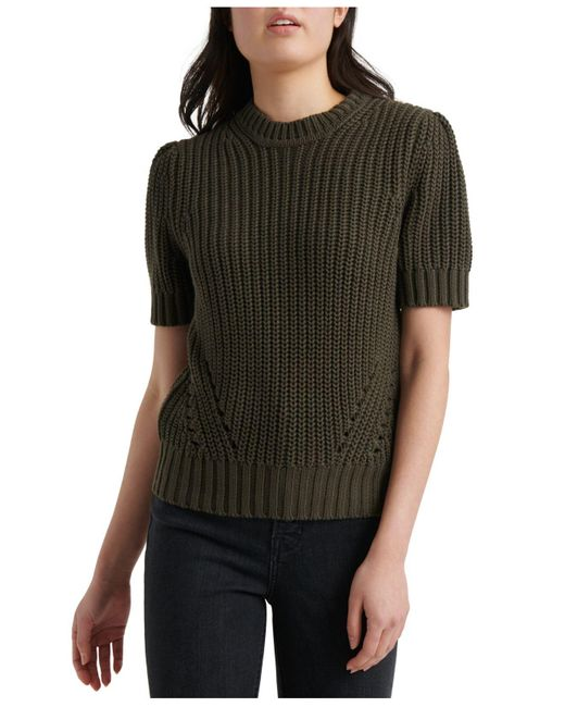 Lucky Brand Green Pleated Short-sleeve Sweater