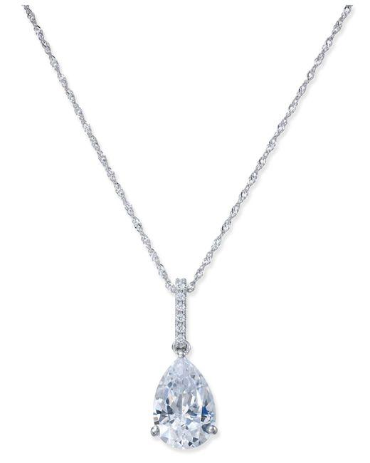 Arabella - Metallic Swarovski Zirconia Teardrop Pendant Necklace In 14k White Gold - Lyst