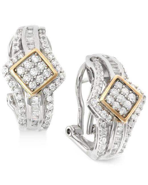 Wrapped in Love - Metallic Diamond J-hoop Earrings (1 Ct. T.w.) In 14k Gold And Sterling Silver - Lyst