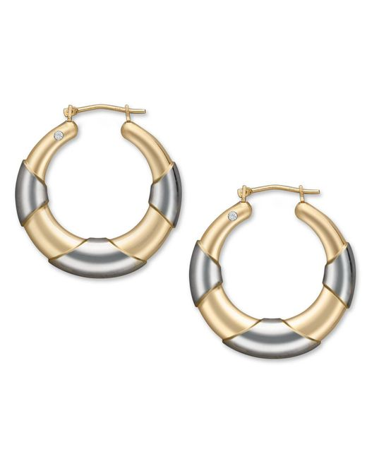 Signature Gold   Metallic Diamond Accent Graduated Hoop Earrings In 14k Gold And White Gold   Lyst