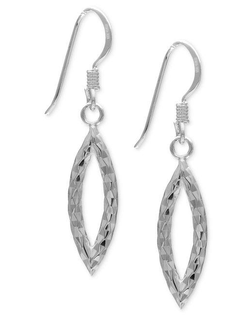 Giani Bernini | Metallic Textured Marquise Drop Earrings In Sterling Silver | Lyst