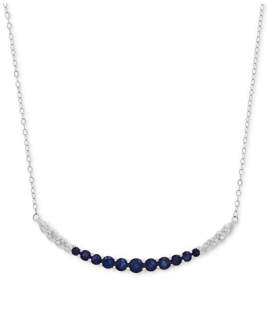 Macy's Metallic Sapphire (1-3/8 Ct. T.w.) And Diamond Accent Graduated Collar Necklace In 14k White Gold