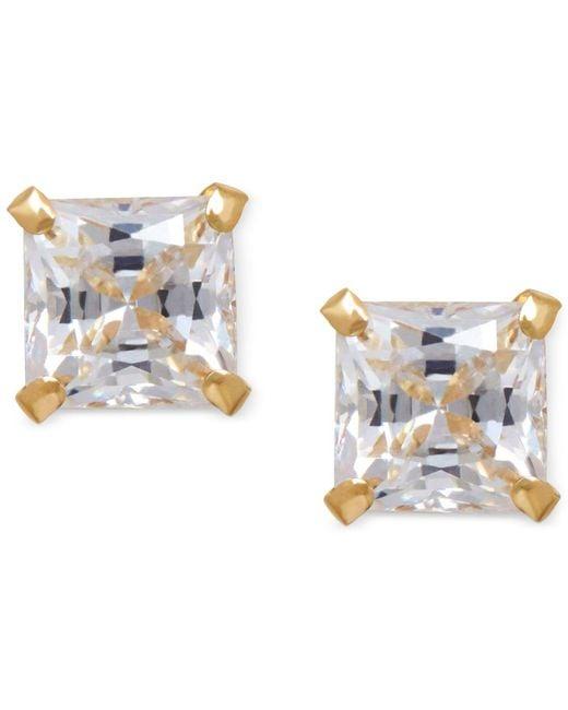 Macy's - Multicolor Cubic Zirconia Square Stud Earrings In 14k Gold - Lyst