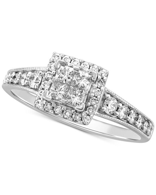 Macy's - Metallic Diamond Princess Halo Engagement Ring (1 Ct. T.w.) In 14k White Gold - Lyst