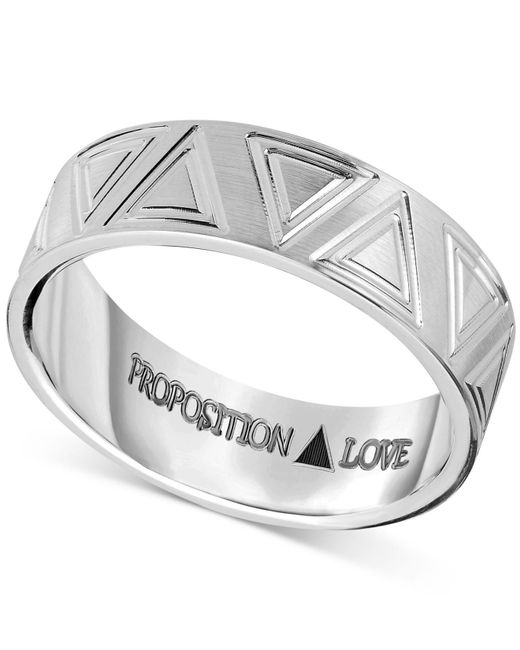 Proposition Love Metallic Unisex Triangle-accent Wedding Band In 14k White Gold