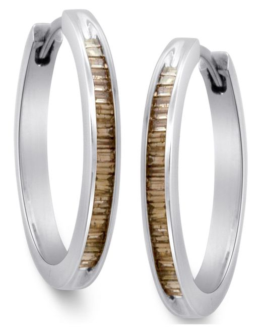 Macy's | Metallic Sterling Silver Earrings, Champagne Diamond Baguette Hoop Earrings (1/4 Ct. T.w.) | Lyst