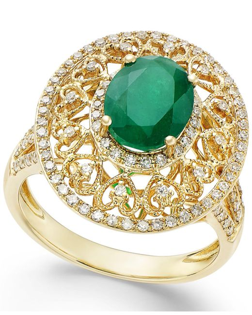 Effy Collection - Green Effy® Emerald (1-1/2 Ct. T.w.) And Diamond (1/2 Ct. T.w.) Antique Ring In 14k Gold - Lyst