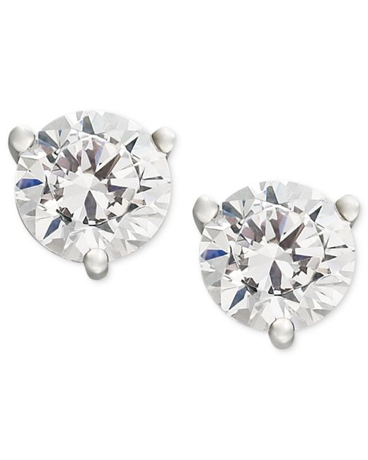 Macy's Metallic Near Colorless Certified Diamond Stud Earrings In 18k White Or Yellow Gold (1 Ct. T.w.)