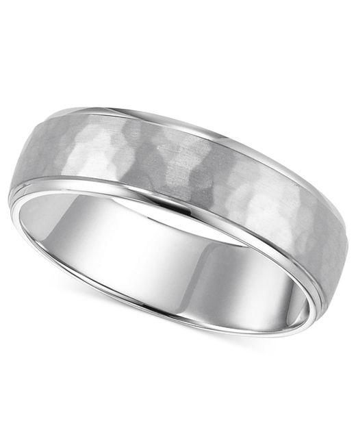 Macy's | Metallic 14k White Gold Ring, Engraved 6mm Wedding Band | Lyst