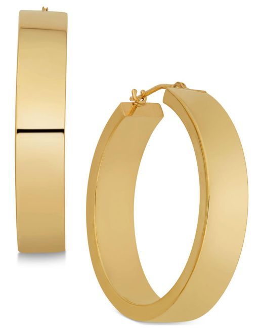 Macy's - Metallic Polished Flat-edge Flex Hoop Earrings In 10k Gold - Lyst