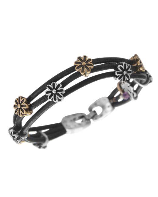 Lucky Brand - Black Bracelet, Two Tone Flower Woven Leather Bracelet - Lyst